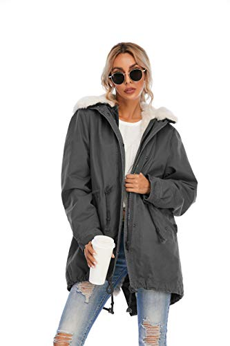 TIENFOOK Womens Parka Jacket Winter Coat with Drawstring Waist Thicken Fur Hood Lined Warm Detachable Design Outwear Jacket (Dark Grey, X-Small)
