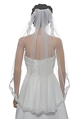 1T 1 Tier Floral Scallop Embroided Lace Pearl Veil Fingertip Length 36""