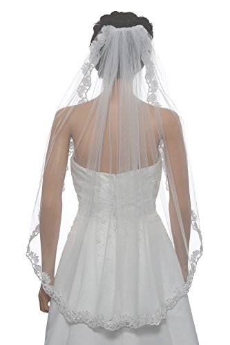 1T 1 Tier Floral Scallop Embroided Lace Pearl Veil - Ivory Fingertip Length 36'' V471 by SAMKY