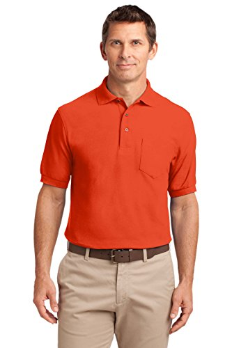 Port Authority Silk Touch Polo Shirt with Pocket - PolyCotton Fabric - (Big And Tall Silk Shirts)
