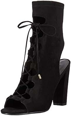 Guess Woman Laila2-A Zapatos de Tacón con Punta Abierta para Mujer, color Negro, 23