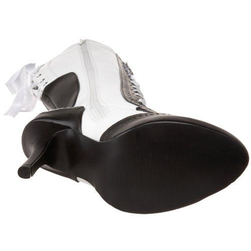 Boot Pleaser Up Synthetic Tempt 126 Lace Black White Women's wqX4XZTz