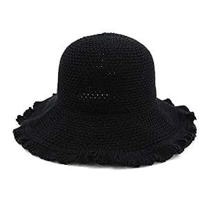 BEESCLOVER Women Outdoor Sun Hat Wide Brim Fisherman Hat for Beach Out Running Black 56-58cm