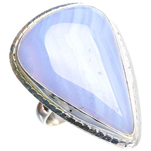 Natural Blue Lace Agate Handmade Unique 925 Sterling Silver Ring 6.25 Y4637