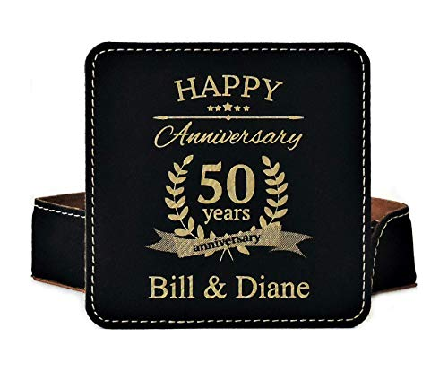 - 50th Anniversary Gift- Personalized Coaster Set - 6 Color Choices- Engraving Included (Black/Gold)