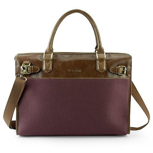 Lavievert Cotton Canvas and Crazy-Horse PU Leather Laptop Bag/Vintage Cross Body Shoulder Bag and Handbag 2 in 1 / Notebook Ultrabook Tablet Padded Case for Up to 15.6 Inch Laptop - Purple ()