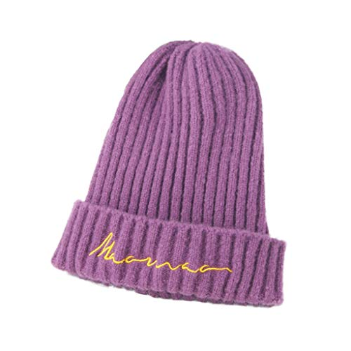 Toddler Kids Embroideried Wool Knit Beanie Hat,Crytech Soft Stretchy Plain Fine Knitted Cable Cuffed Skull Cap Trendy Cute Slouchy Warm Candy Color Snow Ski Hat for Children Boy and Girl (Purple)