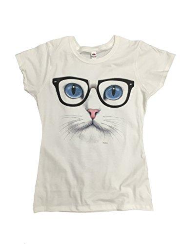 P&B Blue Eyed Nerdy Cat Women's T-Shirt, M, - Eyed Cat