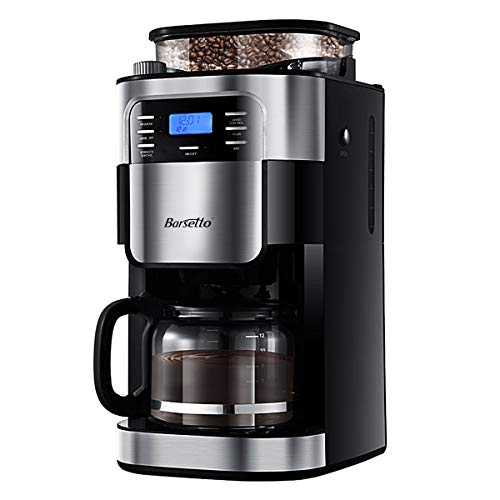 Grind & Brew Automatic Coffeemaker Barsetto 10 Cup Digital Programmalbe Drip Coffee Machine Brewer for Kitchen and Office