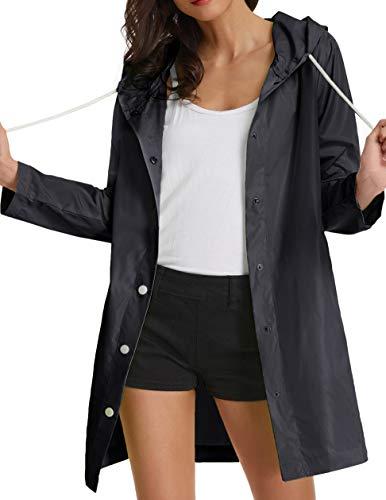 GRACE KARIN Lightweight Hooded Raincoat Waterproof Outdoor Windbreaker Size L Black ()
