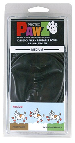 PAWZ Medium Black Dog Boots (Boots Rubber Dog)