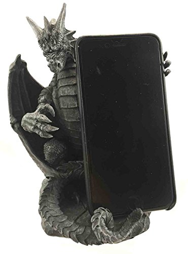 Ebros Gothic Standing Ferocious Guardian Dragon Cell Phone Holder Figurine Desktop Hand Cellular Device Organizer Statue Dungeons And Dragons Medieval Renaissance Sculpture