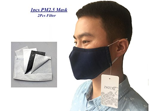 ZWZCYZ 2017 New Unisex Adult PM 2.5 Pollen Dust Mask Washable Activated Carbon Filter into /Three-Dimensional Cotton Masks (Navy Blue) (Mask Washable)