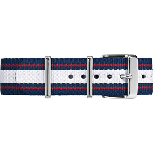 Timex TW7C06900 20mm Blue/White/Red Stripe Fabric Double-Layered Slip-Thru Strap