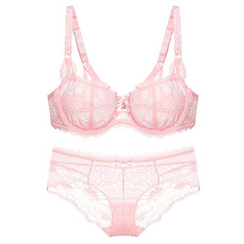 Sin Mujer Ultradelgada Borde Interior 75a Conjunto Rosa Para Inalámbrico Ropa Yukun Recogido Sujetador Costuras Comodidad wqg1FgX