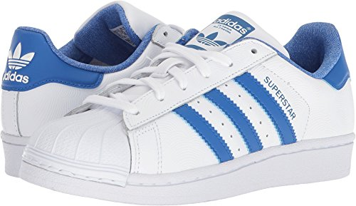 adidas Originals Kids' Superstar J Sneaker, White/Blue/Collegiate Royal, 5 M US Big Kid