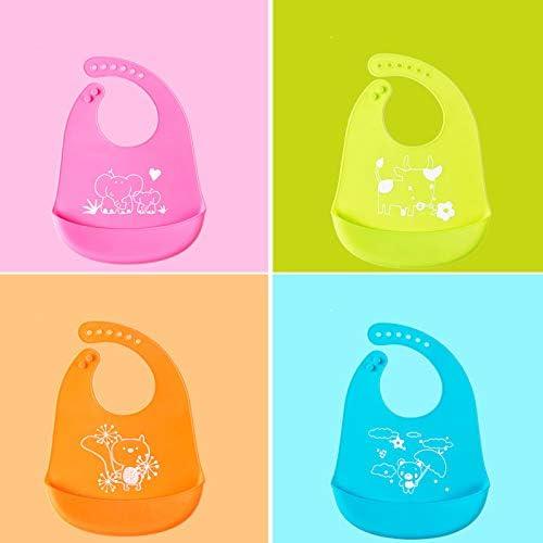 4 couleurs LABOTA 4PCS Bavoir b/éb/é en silicone Imperm/éable Snaps r/églables Bavoirs Pour B/éb/és B/éb/és Et Les tout petits avec poche pour attrape-nourriture