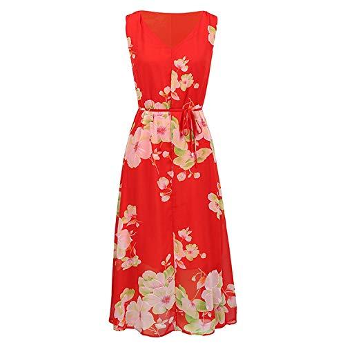 baqijian Women Chiffon Dress Floral Print V-Neck Sleeveless 5XL Plus Size Maxi Dress Casual Beach Boho Long Dress -