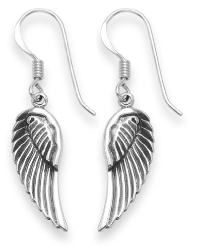 Dew Sterling Silver Angel Wings Drop Earrings