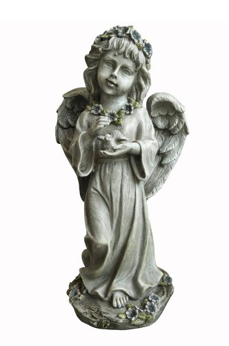 Hi-Line Gift Ltd Angel Child Standing and Holding Bird Statue, 12-Inch