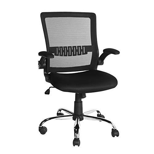 Office Desk Chair Flip-Up Arm Ergonomic Lumbar Support Tilt Lock/Swivel/Adjustable Black OC-01 (Black flp up arm) ()