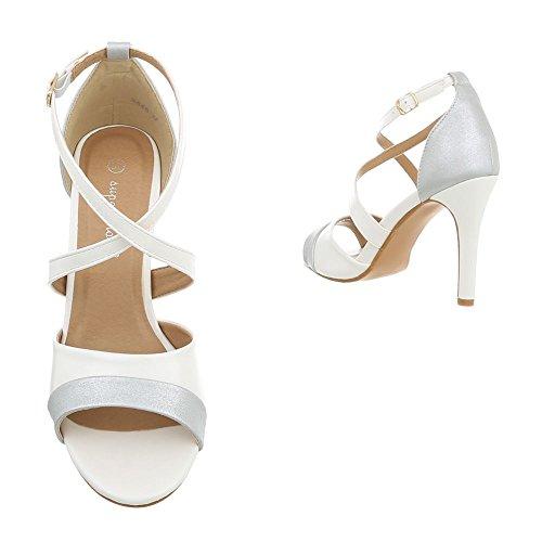 Ital-Design Women's Sandals Stiletto Heeled Sandals at White 8446 EqKgdA2
