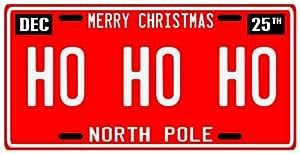 Santa Claus HO HO HO Merry Christmas Ornament North Pole License Plate