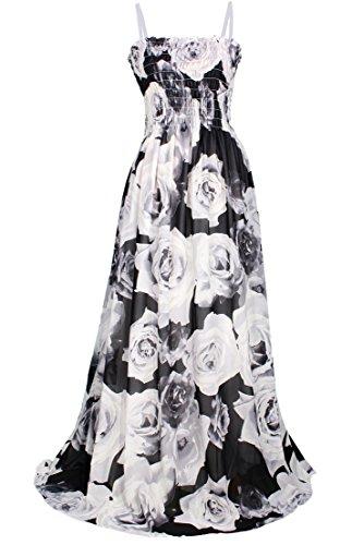 MayriDress Maxi Dress Plus Size Clothing Black Ball Gala Party Sundress Designer (XL-Long 57 inch, White Rose)