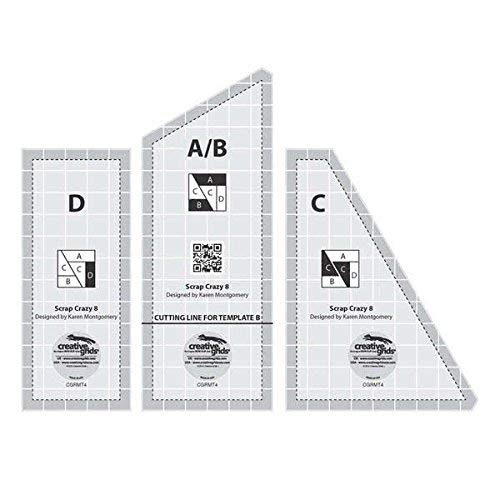 Creative Grids Scrap Crazy for 8'' Finished Blocks - Set of Three Quilting Ruler Templates CGRMT4 by Creative Grids