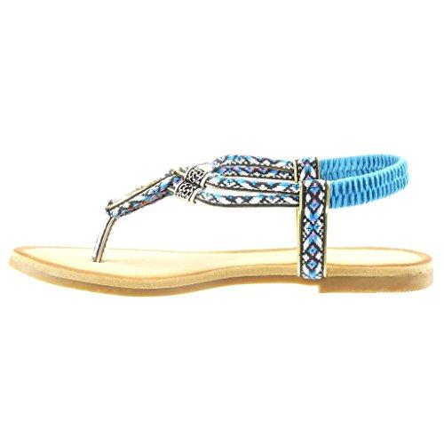 Angkorly - Zapatillas de Moda Sandalias correa mujer trenzado bordado Talón Tacón ancho 1.5 CM - Azul
