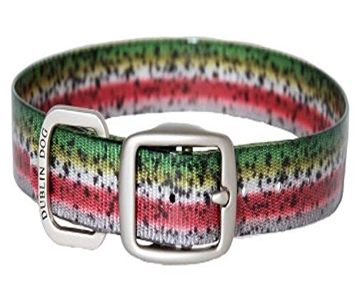 Dublin Dog Koa Collection Trout Series 17 by 21.5-Inch Dog Collar, Large, Rainbow Trout
