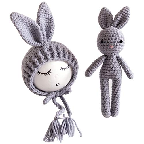Jastore Infant Newborn Photography Prop Photo Crochet Boys Girls Knit Toy Bear Hats (Rabbit-Grey) ()