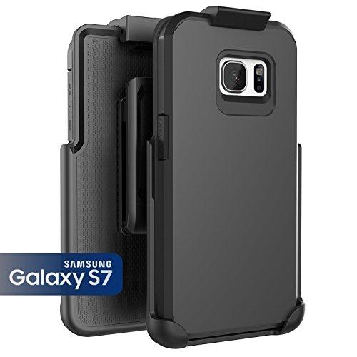 Samsung Galaxy S7, Encased ToughSHIELD Slim Hybrid Case & Belt Clip Holster (Smooth Black)