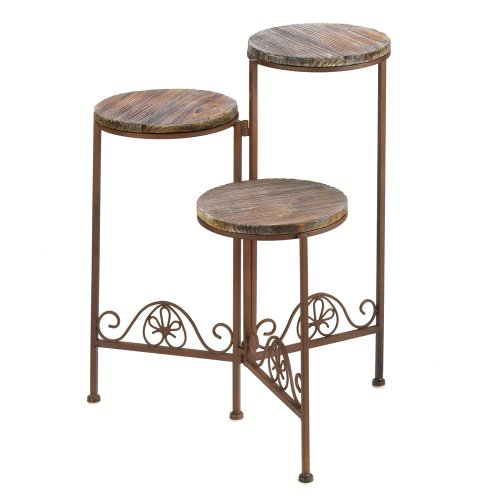 Gifts and Decor Rustic Finish Triple Planter Table Set