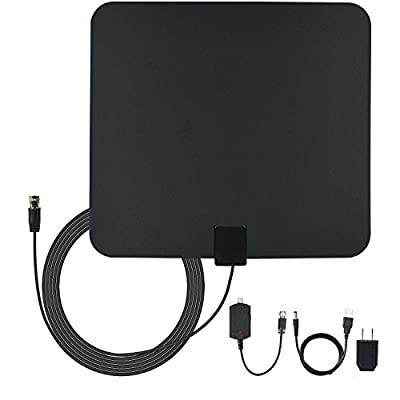 Amberonics TV Indoor Antenna with Amplifier - 50 Mile Range Reception for Digital HDTV Black with 13-Feet Coax Cable