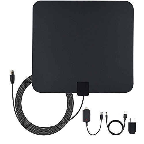 Amberonics Indoor Digital TV Antenna - Best Selling HDTV Digital Antenna with Amplifier - 50 Mile Range High Performance Digital HDTV Antenna to view Free Local Channels - with 13-Feet Cable