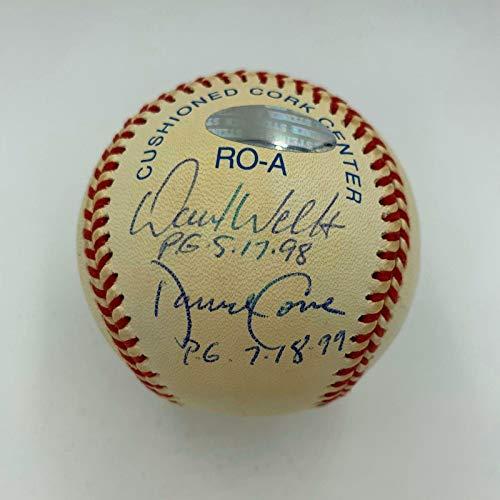 (Perfect Game Multi Signed Baseball Randy Johnson Don Larsen David Wells COA - JSA Certified - Autographed Baseballs )