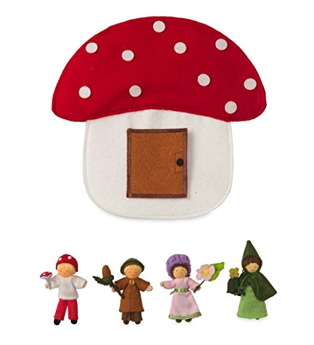 Magic Cabin Nature Halfpenny Dolls Posable Handcrafted with Carrying Case Set of Four