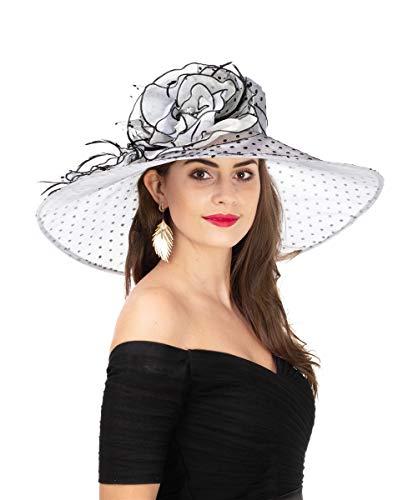 - SAFERIN Women's Organza Church Kentucky Derby Fascinator Bridal Tea Party Wedding Hat (SF-Wide Brim Grey/Black- Black Dot)