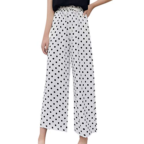 (Womens Striped Chiffon Wide Leg Pants Tie Bow Elastic Waist Palazzo Crop Pant Polka Dot Flowing Terry Culotte Pant Comfy Lightweight Lounge Trousers)