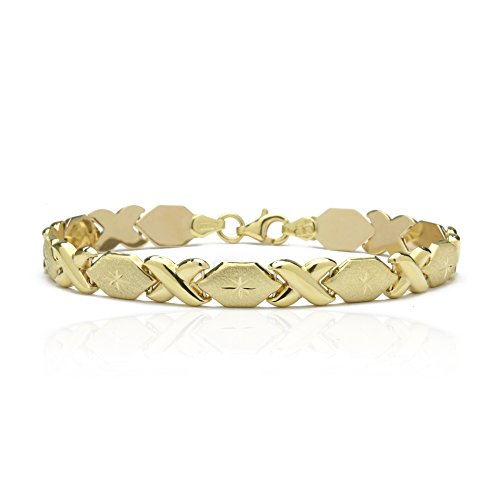 8 Inch 10k Yellow Gold Stampato Xoxo X & O Hugs Kisses Chain Bracelet for Women and Girls