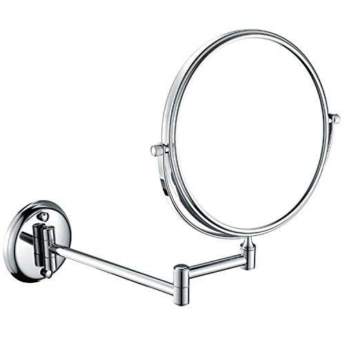 GuRun Two-Sided Vanity Swivel Mirror Wall Mounted with 10x Magnification,Chrome Finished, Brass M1306 8 inch 10x