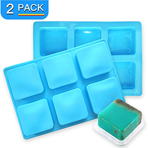 - 2 Pack Thicker Silicone Soap Molds, 6 Cavities Non-Stick Silicone Soap Molds for Making 2.35