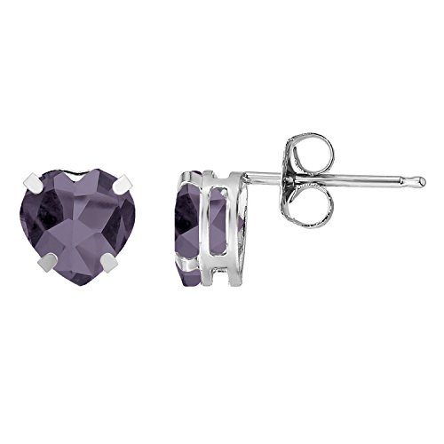 Lavari - 6MM Heart Simulated Purple Alexandrite in Sterling Silver Stud Earrings