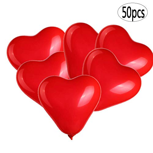 BinaryABC Red Heart Shaped Latex Balloons,Mother Day Balloons,Valentine's Day Engagement Wedding Party Decorations,10Inch,50Pcs(Red) -