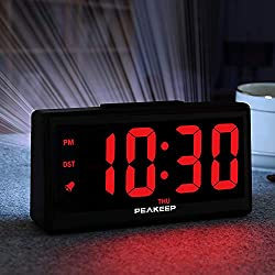 """PEAKEEP 6.8 Large Night Light Digital Alarm Clock with USB Charging Port, Dimmers for 1.8"""" Digits and Nightlight, High Low Loud Alarm Volume, Day, DST, AC Powered for Bedrooms Bedside"""