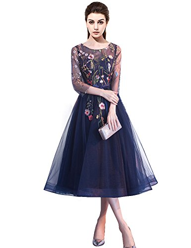 YSMei Women's Tea Length Floral LaceEvening Prom Dress with Sleeves Embroidered Formal Gowns Navy Blue 10