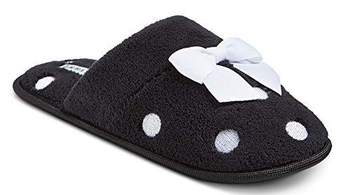 Womens Ashley Slides - Laura Ashley Women's Slide Slippers (Large, Black/Polka Dot with Bow)