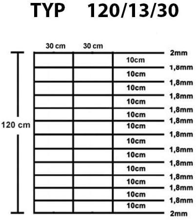 Garmix Wildzaun 120cm Weidezaun Gartenzaun Forstzaun Knotengeflecht/… 120//13//30