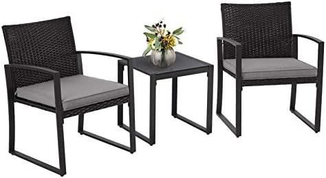 SUNCROWN Outdoor Furniture 3 Piece Patio Bistro Set Black Wicker Chairs and Glass Top Coffee Table